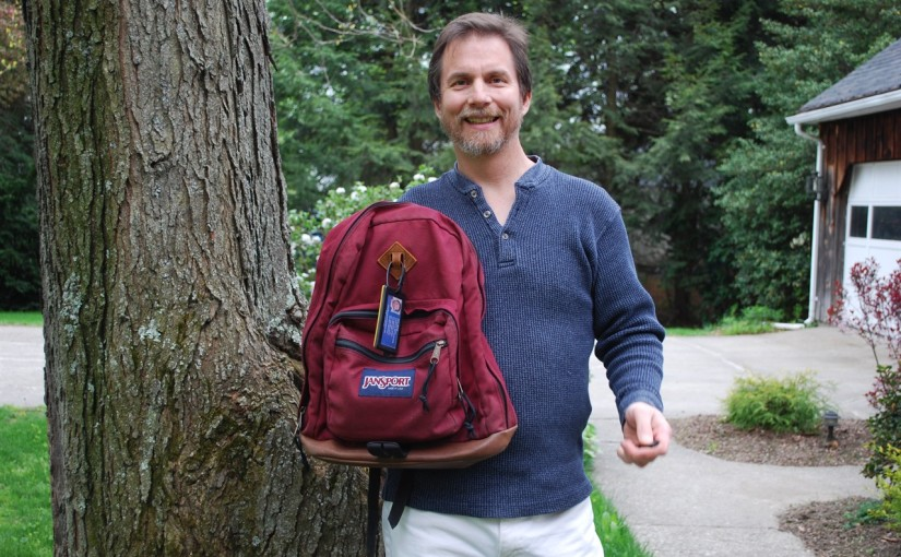 Larry and his restored JanSport backpack